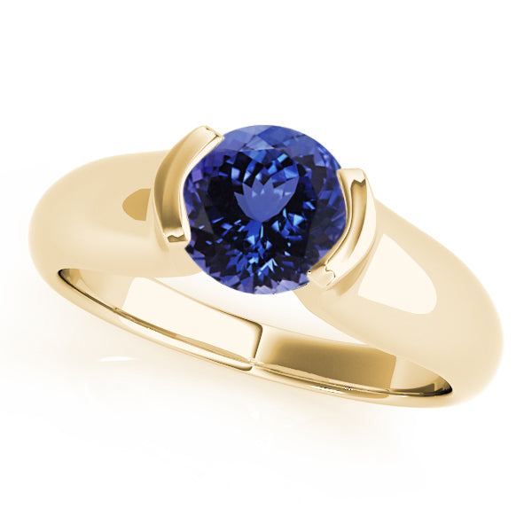 0.78ct Round Tanzanite Solitaire Ring in 14k Yellow Gold