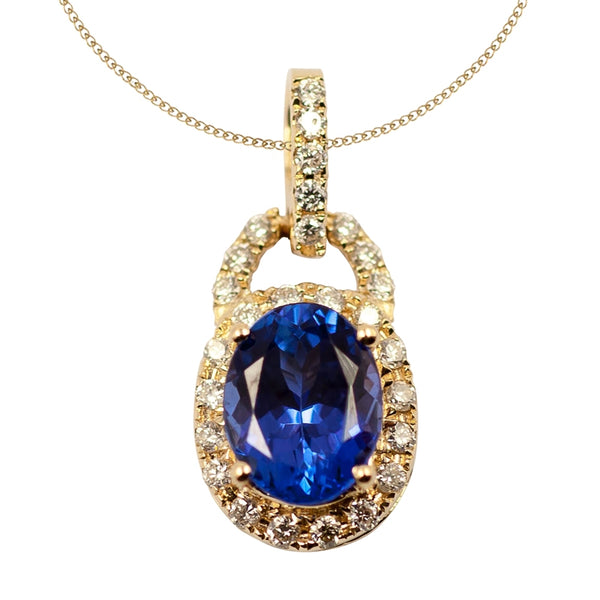 1.05ct Oval Tanzanite Pendant With .08ctw Diamonds in 14k Yellow Gold