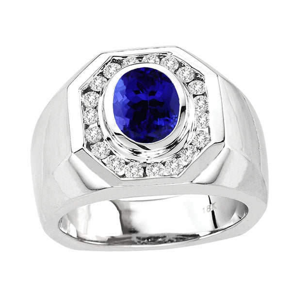 1.55ct Oval Tanzanite Men's Ring With .53ctw Diamonds in 14k White Gold