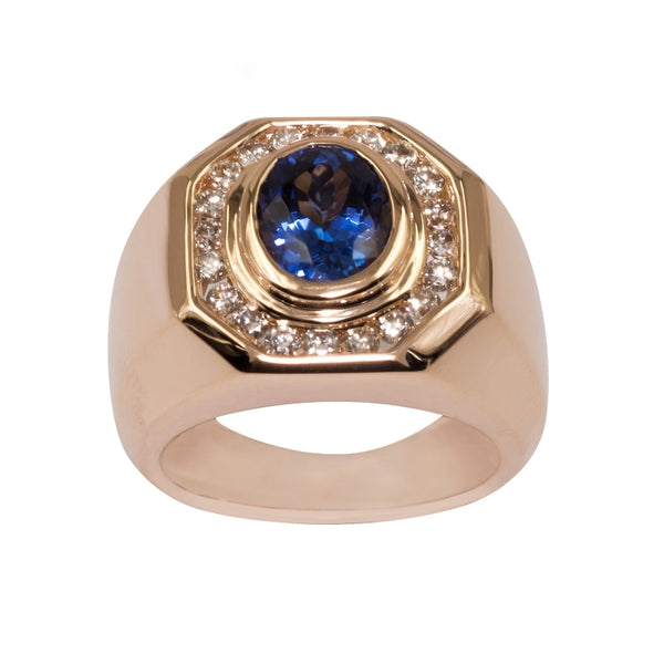 1.8ct Oval Tanzanite Men's Ring With 0.58ctw Diamonds in 14k Yellow Gold