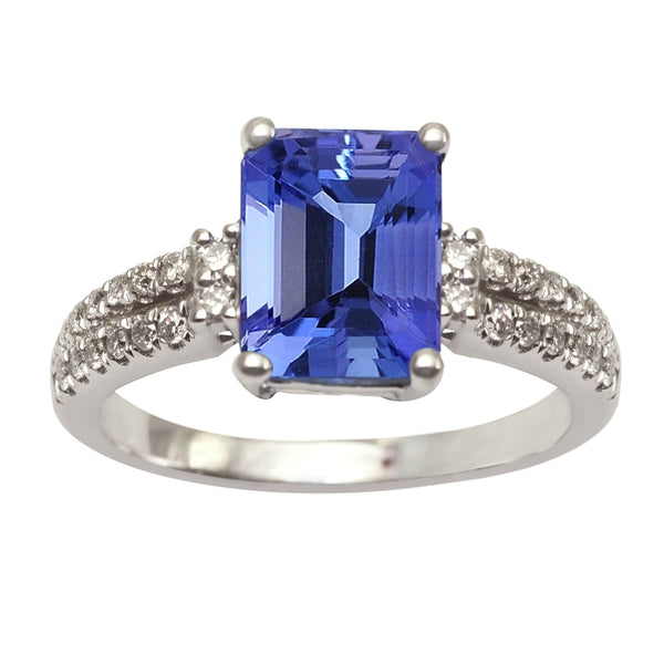 2.16ct Emerald Cut Tanzanite Ring With .24ctw Diamonds in 14k White Gold