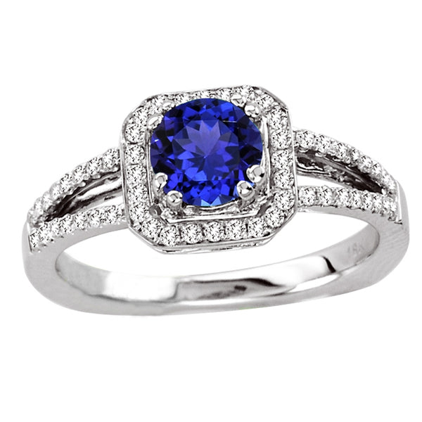 0.78ct Round Tanzanite Ring With 0.26ctw Diamonds in 14k White Gold