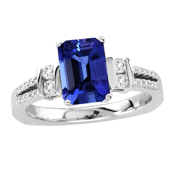 1.50ct Emerald Cut Tanzanite Ring With .31ctw Diamonds in 14k White Gold