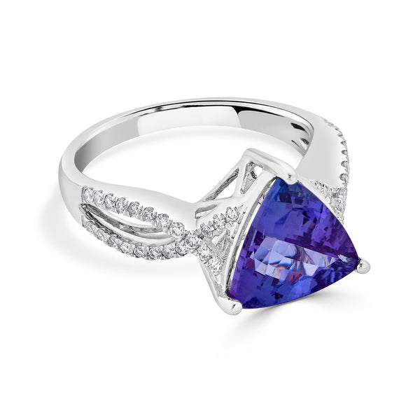 3.3 ct Trillion Tanzanite Ring with 0.28 cttw Diamond in 14K WG