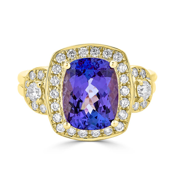 3.63 ct Cushion Tanzanite Ring with 0.63 cttw Diamond in 14K YG