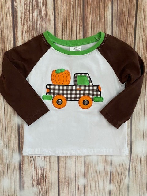 Boy's Truck With Pumpkin Raglan