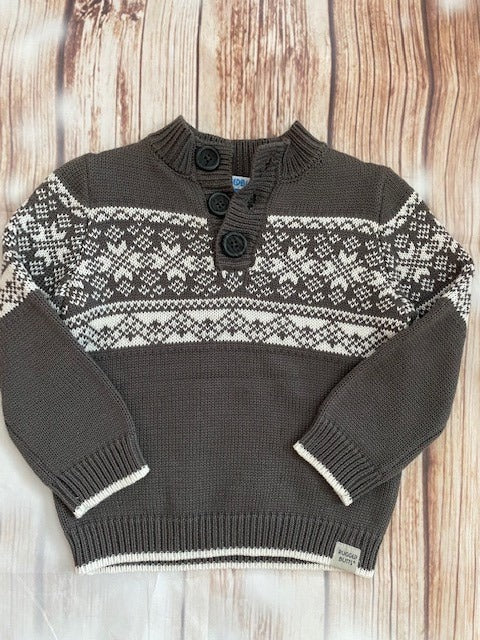 Rugged Butts Gray & White Boy's Sweater