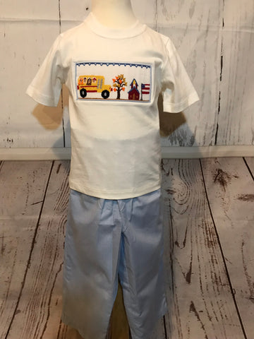 Boy's 2 piece smocked school bus