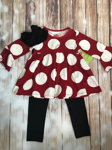 Three Friends Red/White Circled 2 piece Set