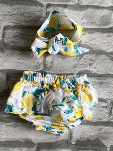 Infants Lemon Bummies with Matching Fabric Headband