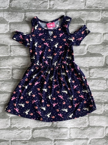 Girl's Unicorn Cold Shoulder Dress