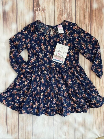 Ruffle Butts Navy Floral Tiered Ruffle Dress
