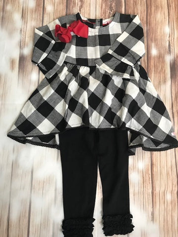 Ruffle Butts Black/white Buffalo Plaid Tunic