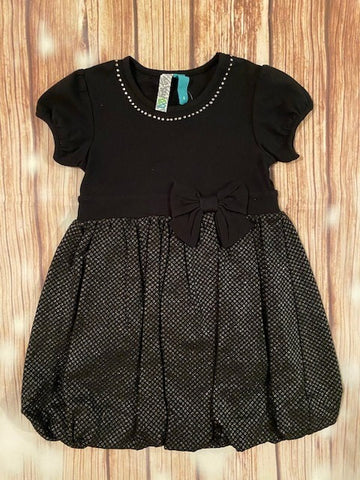 Black Sequined Puff Dress