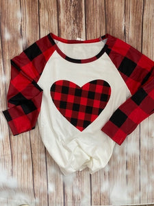 Ladies Heart Buffalo Plaid Tshirt