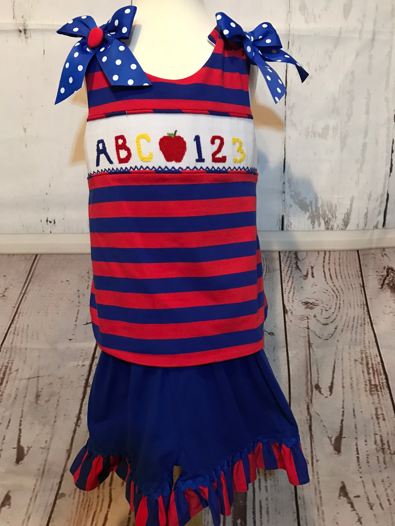 ABC ruffled and smocked short set