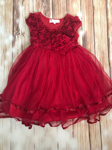 Red Rosette Lace Dress