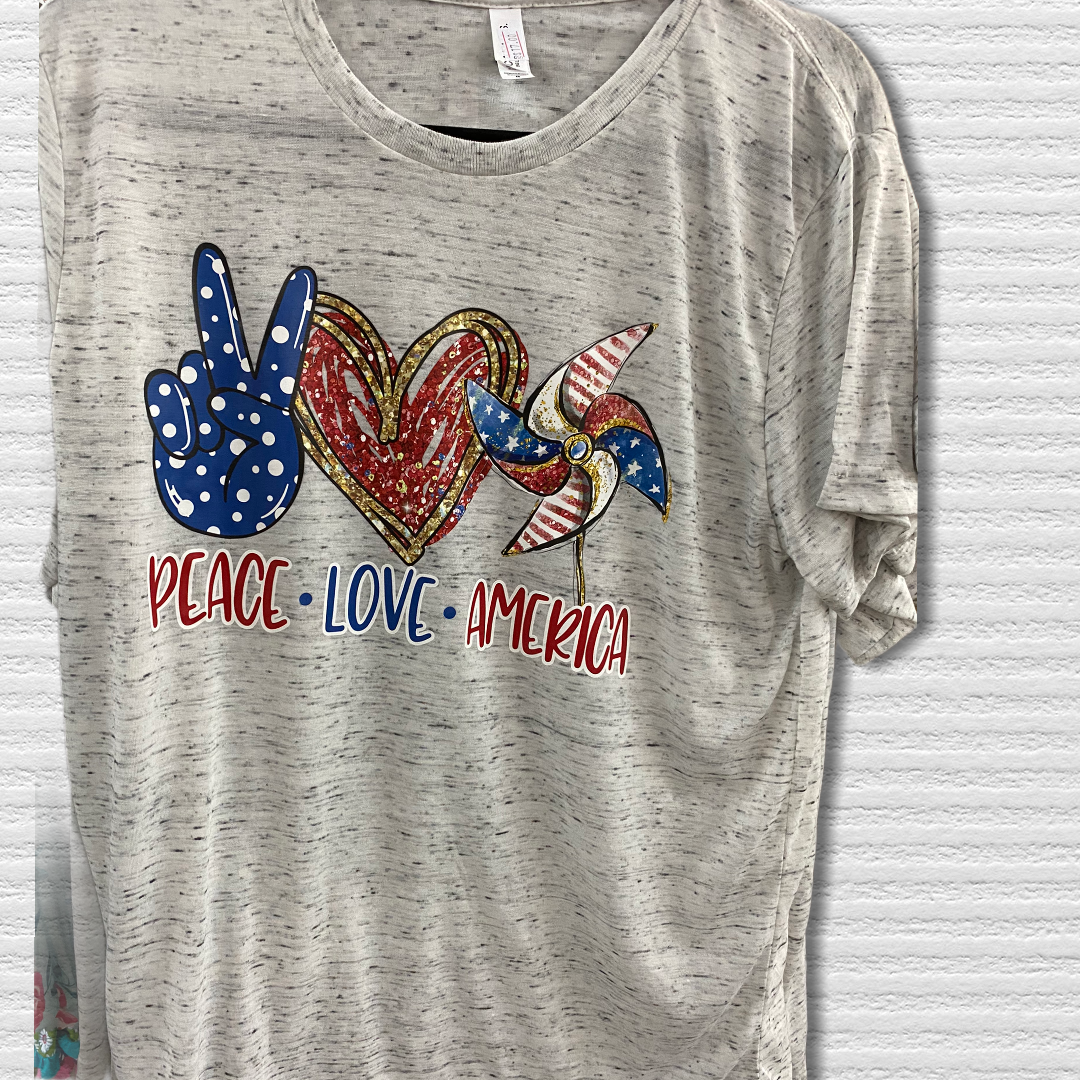 Peace, Love, America Patriotic Tshirt
