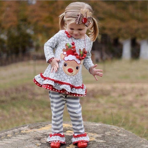 Rudolph Christmas 2-Piece Ruffled Outfit
