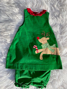 Zu Corduroy Deer Christmas Dress