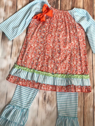 Abielle 2 Piece Paisley Ruffled Outfit