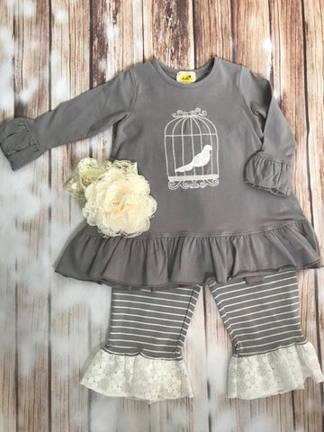 Abielle 2 piece Bird Cage with Ruffled or Straight Leggings