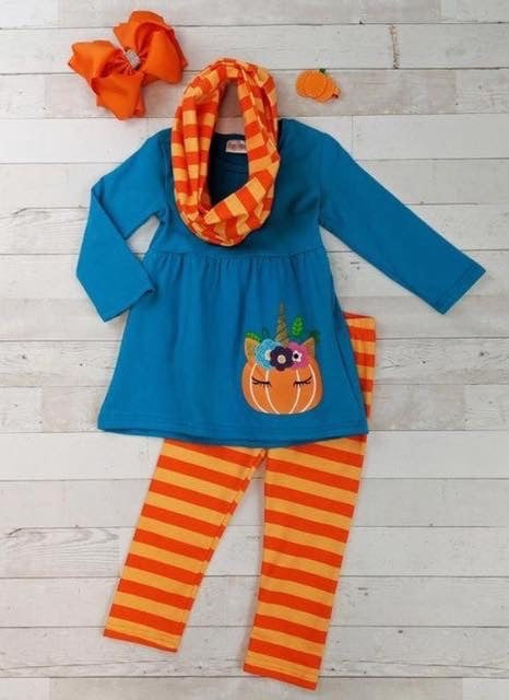2 piecd Pumpkin Unicorn Outfit