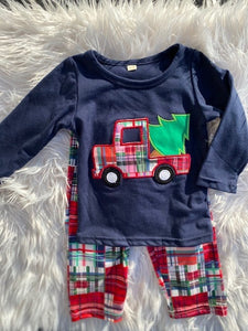Boy's Christmas Tree and Truck Patchwork Outfit