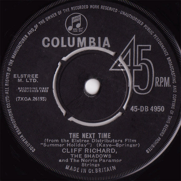 Cliff Richard & The Shadows - The Next Time / Bachelor Boy