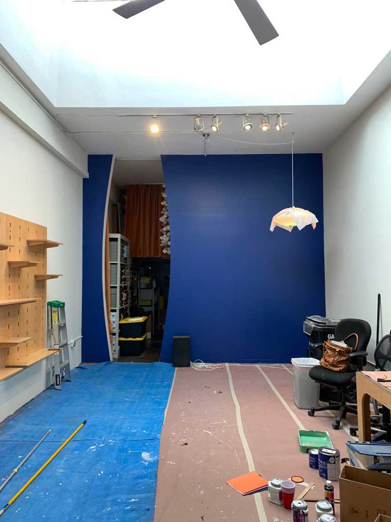 New Blue color for the back wall of the shop.