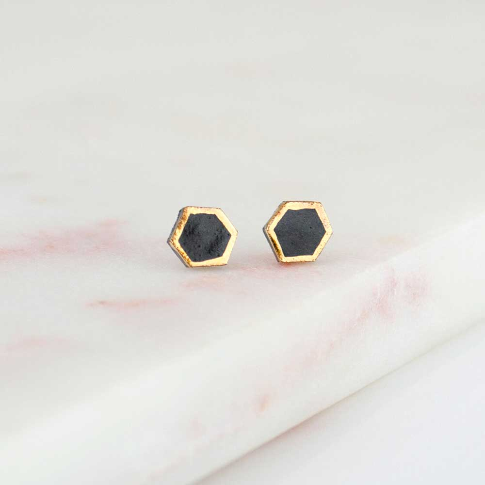 Amber E Lea Hexagon Studs - Black - re-souL