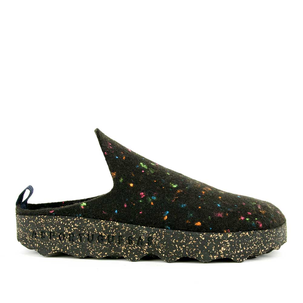 Asportuguesas Women Mule Slipper - Black Confetti - re-souL