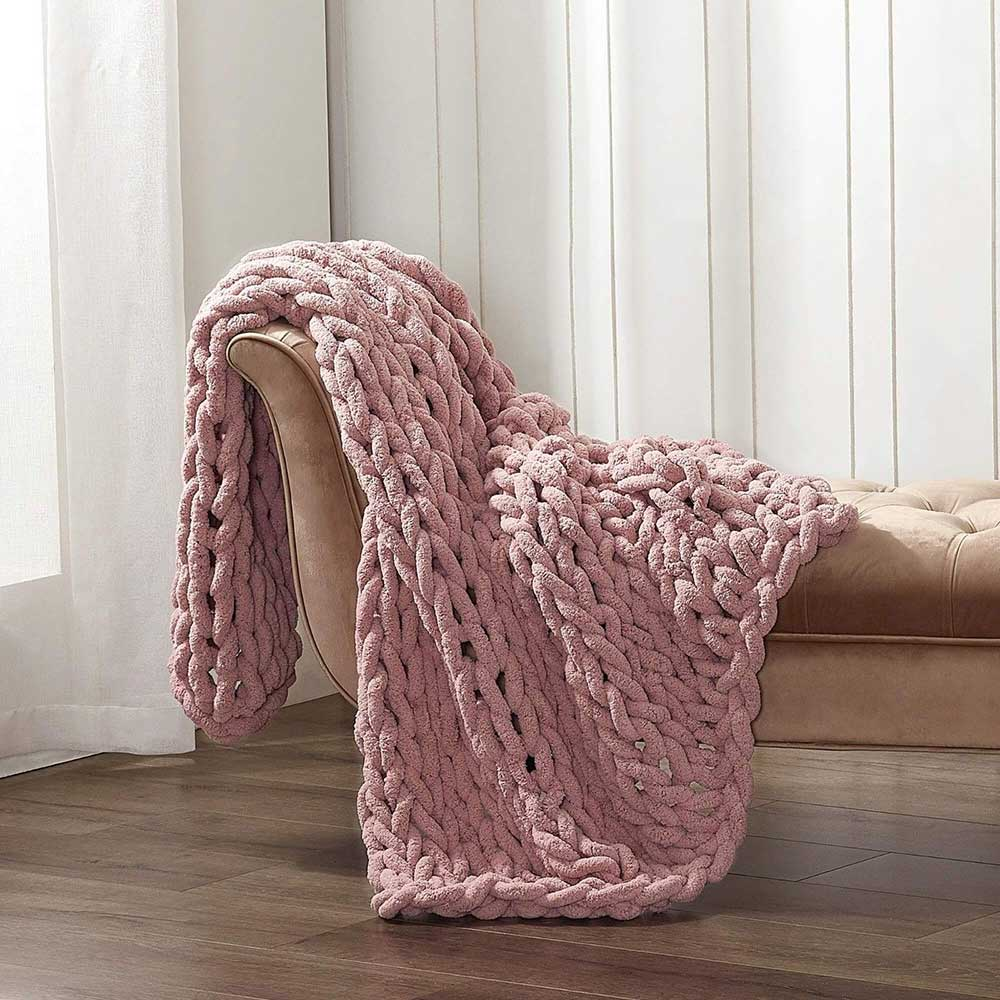 Chunky Chenille Throw - Blush Mauve - re-souL