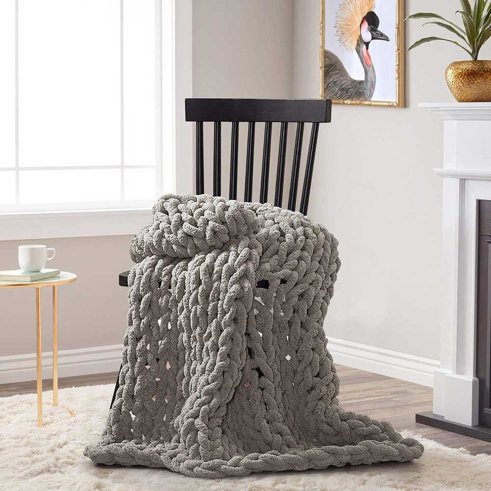 Chunky Chenille Throw - Dove Grey - re-souL