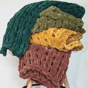 Chunky Chenille Throw - Peacock - re-souL