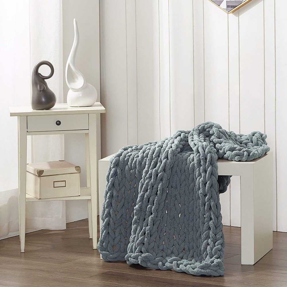 Chunky Chenille Throw - Seaside Blue - re-souL