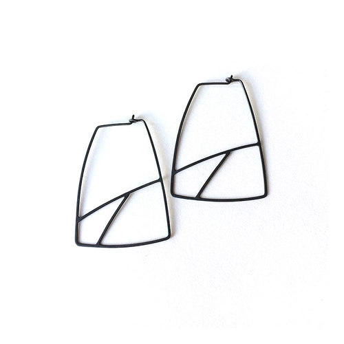 Dottyspeck Geo Oxidized Silver Hoops - re-souL