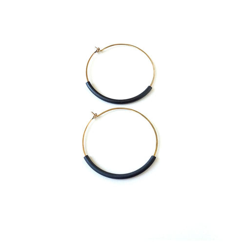 Dottyspeck Simple Not-So-Simple Hoops - Gold/Oxidized - re-souL