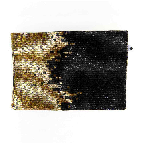 Ink+Alloy Black and Gold Clutch - re-souL