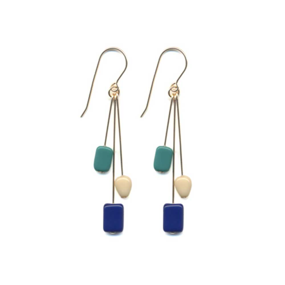 I.R. Kappos Blue Rectangle Cluster Earrings - re-souL