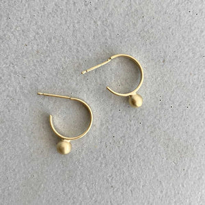 Iris Guy Small Gold Hoops with Ball - re-souL