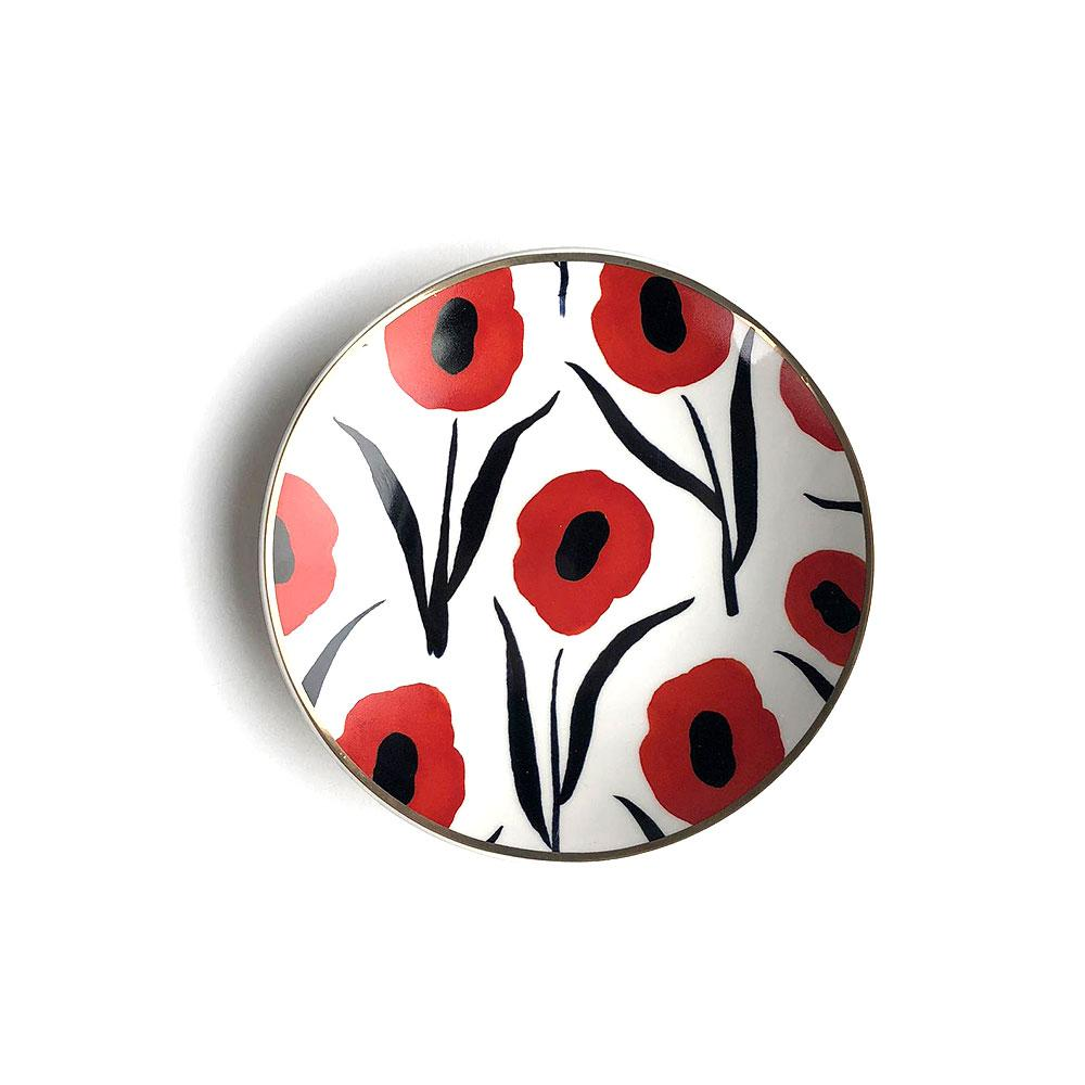 Misha Zadeh Porcelain Trinket Dish - Red Poppies - re-souL