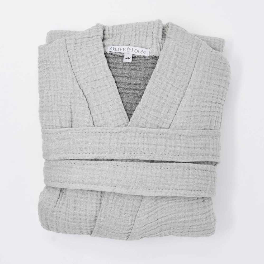 Olive & Loom Spa Robe - Grey - re-souL