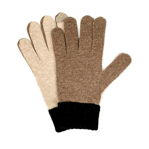 Santacana Men Colorblock Gloves - Brown - re-souL