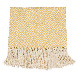 Tajik Home Throw Blanket - Yellow - re-souL