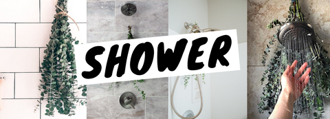 4 showers with eucalyptus bundles in them examples