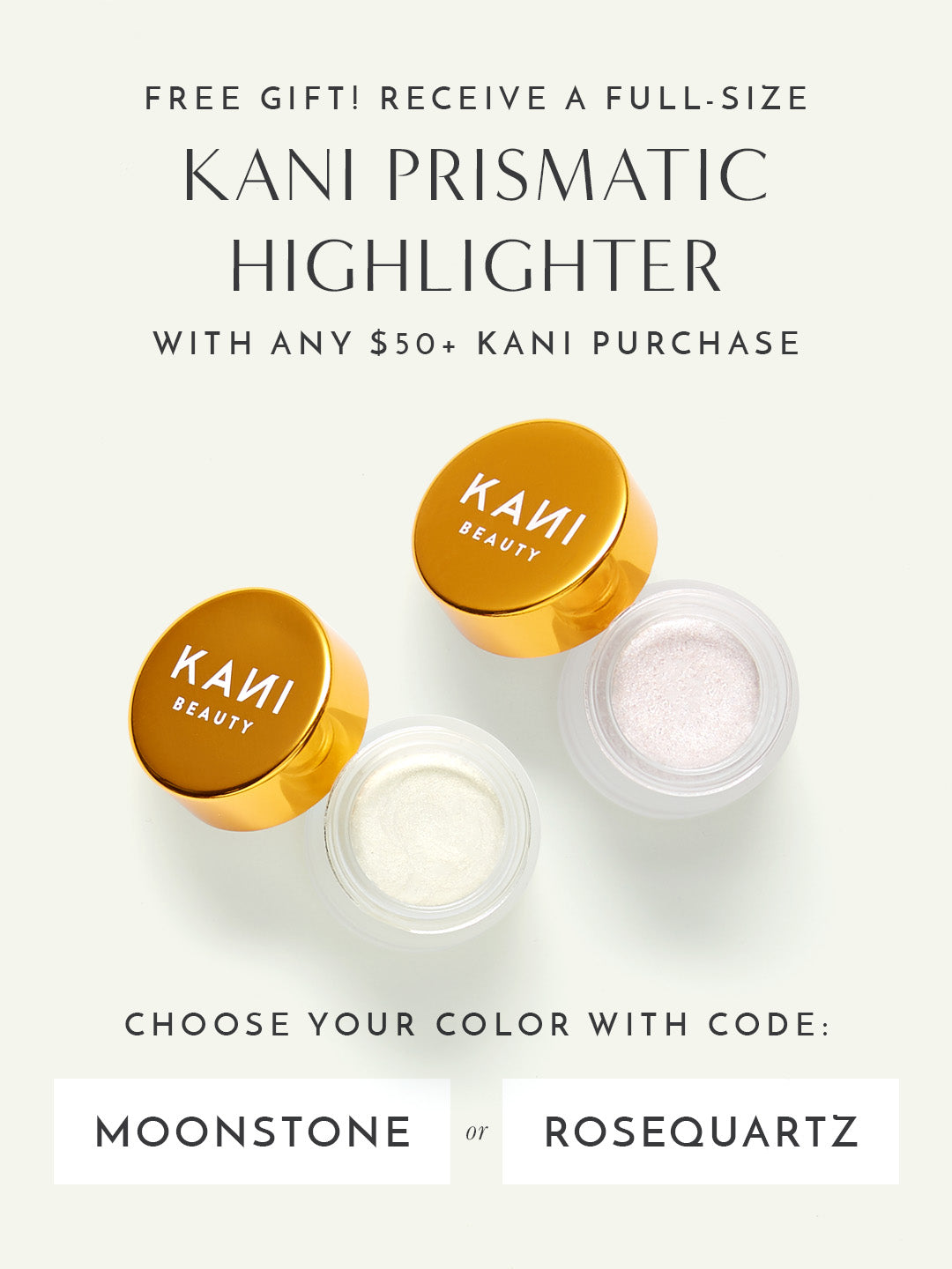 FREE Full-Size Prismatic Highlighter with any $50+ Kani purchase. Use code: MOONSTONE or ROSEQUARTZ