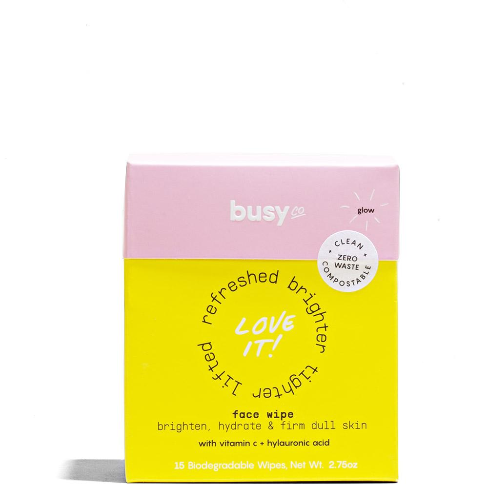 GLOW Compostable Face Wipes 15 Wipes by Busy Co. at Petit Vour