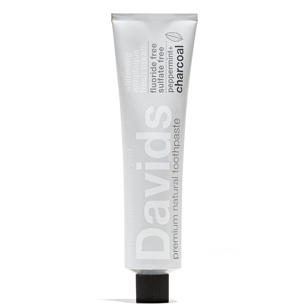 Premium Natural Toothpaste | Peppermint + Charcoal  by Davids at Petit Vour