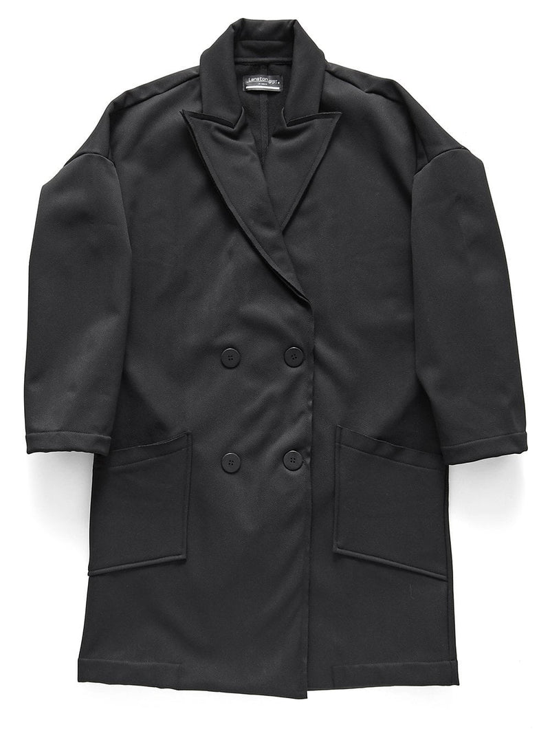 Abel Herringbone Raw Edge Fleece Trench  by Lanston at Petit Vour